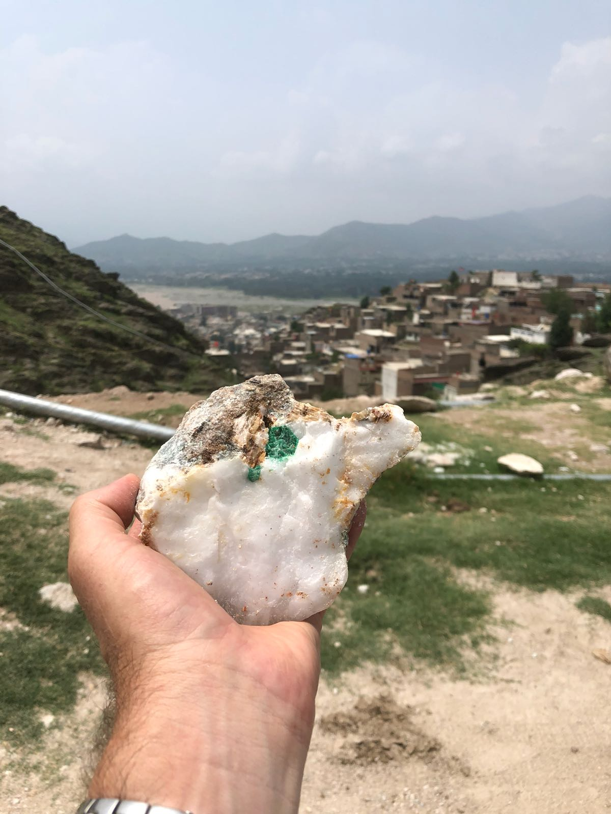 Emerald in its host rock, Swat Valley, Pakistan. <span>